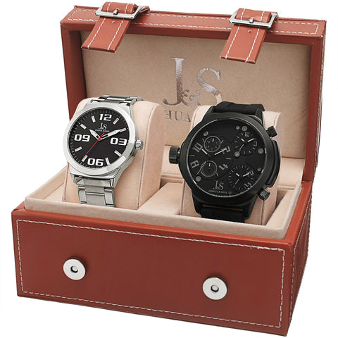 Joshua & Sons Men's JS84-1 Analog Watch Set Stainless Steel/Leather Band JS84-2