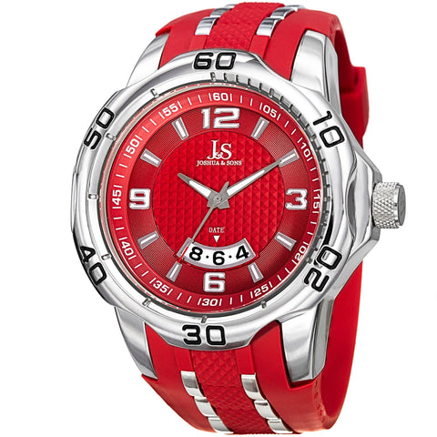Joshua & Sons JX110 Men's  Extended Date Window Layered Dial Silicone Strap Watch JX110BUR