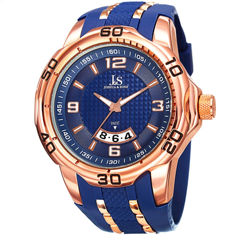 Joshua & Sons JX110 Men's  Extended Date Window Layered Dial Silicone Strap Watch JX110BU