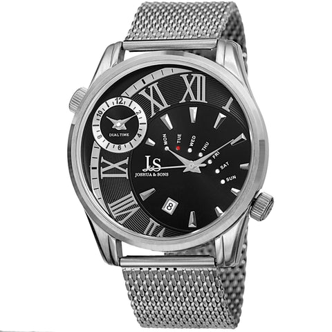 Joshua & Sons Men's Dual Time Zone Quartz Watch On Stainless Steel Mesh Bracelet Watch  JX112SSB
