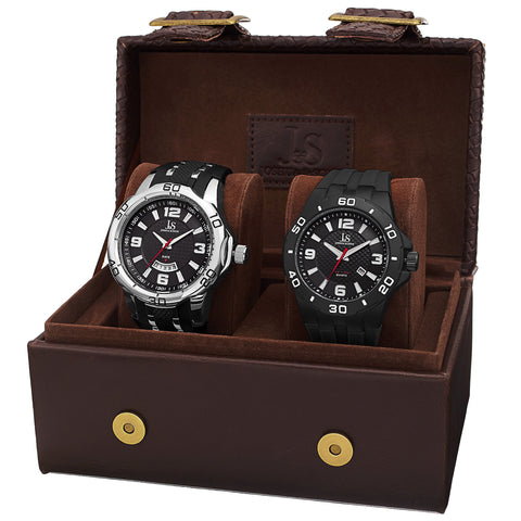 Joshua & Sons Men's JX113 Quartz Date Strap Watch Set JX113BK