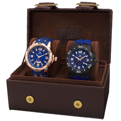 Joshua & Sons Men's JX113 Quartz Date Strap Watch Set JX113BU