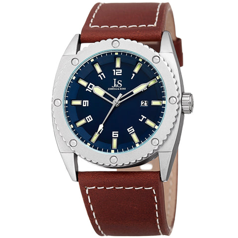 Joshua & Sons Men's JX120BU Quartz Movement Date Genuine Leather Strap Watch