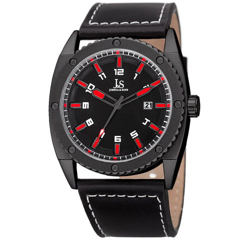 Joshua & Sons Men's JX120RD Quartz Movement Date Genuine Leather Strap Watch