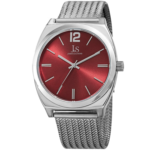 Joshua & Sons Men's Quartz Easy-to-Read Silver-Tone Stainless Steel Bracelet Watch JX124SSRD