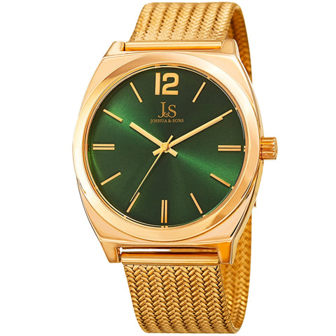 Joshua & Sons Men's Quartz Easy-to-Read Gold-Tone Stainless Steel Bracelet Watch JX124YGGN
