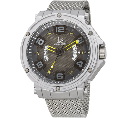 Joshua & Sons Men's 50mm Case Carbon Fiber Dial on Stainless Steel Mesh Bracelet Watch  JX132YL