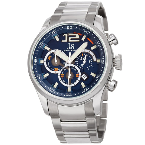 Joshua & Sons Men's Quartz Deep-Set Dial Chronograph On Stainless Steel Bracelet Watch JX134SSBU