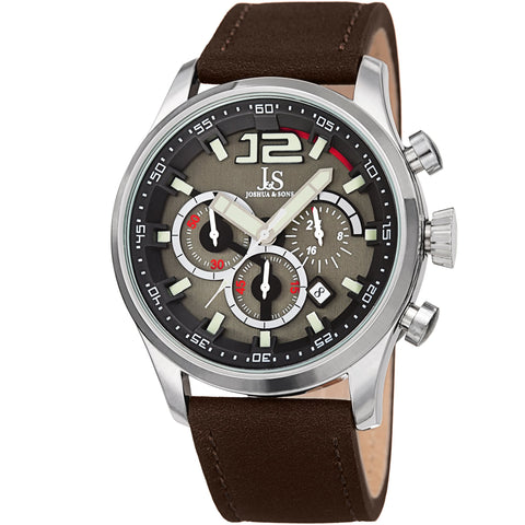 Joshua & Sons Men's Quartz Deep-Set Dial Chronograph On Geniune Leather Strap Watch JX137BR