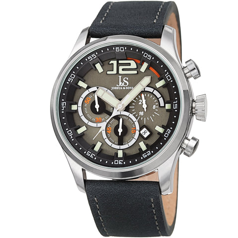 Joshua & Sons Men's Quartz Deep-Set Dial Chronograph On Geniune Leather Strap Watch JX137GY