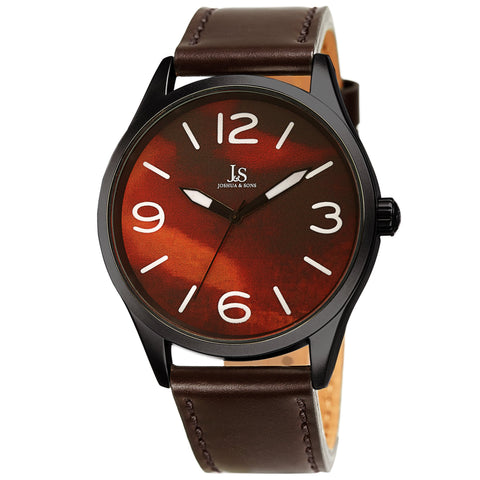 Joshua & Son's JX144BR Quartz Marble Dial Leather Strap Watch