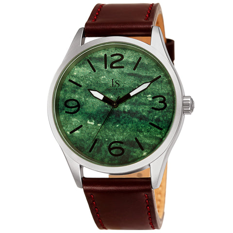 Joshua & Son's JX144GN Quartz Marble Dial Leather Strap Watch