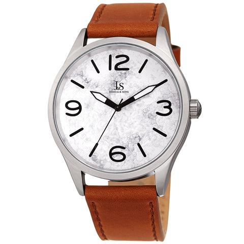 Joshua & Son's JX144TN Quartz Marble Dial Leather Strap Watch