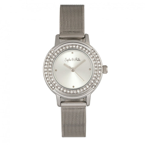 Sophie & Freda Cambridge Bracelet Watch w/Swarovski Crystals - Silver