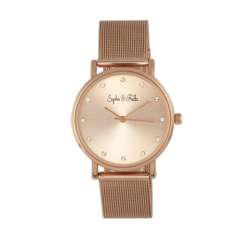 Sophie & Freda Savannah Mesh Bracelet Watch w/Swarovski Crystals - Rose Gold