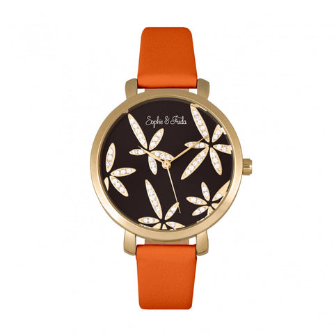 Sophie & Freda Key West Leather-Band Watch w/Swarovski Crystals - Gold/Orange