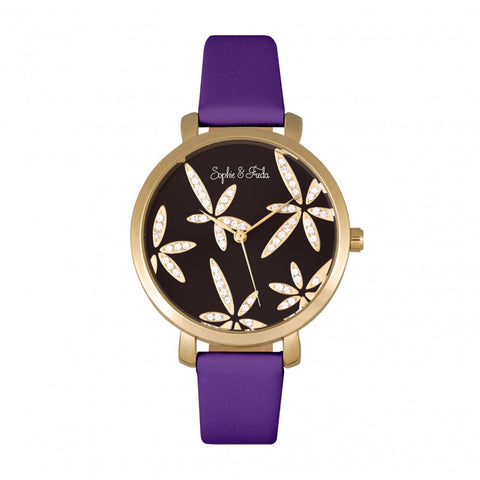 Sophie & Freda Key West Leather-Band Watch w/Swarovski Crystals - Gold/Purple