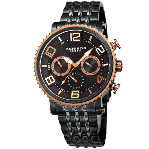 Akribos XXIV Men's Quartz Multifunction Stainless Steel Black Bracelet Watch AK917BKRG