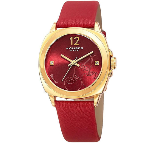 Akribos XXIV Women's  Quartz Diamond-Accented Cherry Dial Satin Strap Watch AK902RD