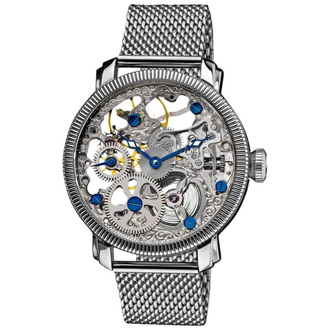 Akribos XXIV Men's Stainless Mechanical Skeleton Mesh Bracelet Watch AK526SS