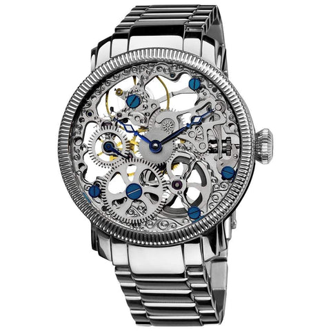 Akribos XXIV Men's Stainless Mechanical Skeleton Watch AK525SS