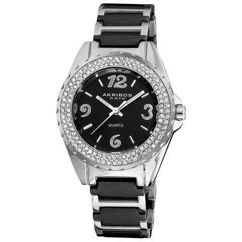 Akribos XXIV Women's Quartz Crystal Ceramic Bracelet Watch AK514BK