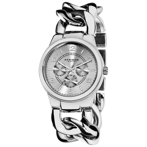 Akribos XXIV Women's Stainless Steel Twist Chain Quartz Multifunction Watch AK531SS