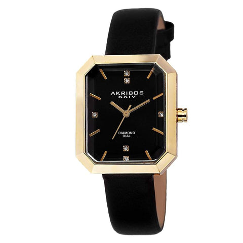 Akribos XXIV Women's Swiss Quartz Genuine Diamond Leather Strap Watch AK749BK