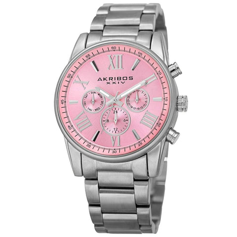 Akribos XXIV Womens Swiss Quartz Multifunction Stainless Steel Bracelet Watch AK908SSPK