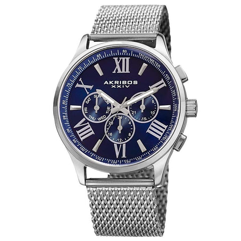 Akribos XXIV Men's Swiss Quartz Multifunction Dual Time Stainless Steel Silver-Tone Bracelet Watch AK844SSBU