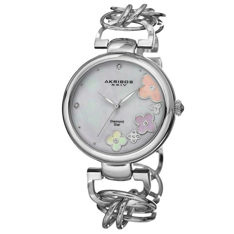 Akribos XXIV Women's Genuine Diamond Flower Dial Twist Chain Bracelet Watch AK645SS