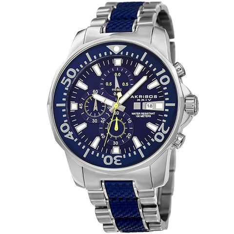 Akribos XXIV Men's Bold Chronograph Two-tone Stainless Steel Bracelet Watch AK857BU
