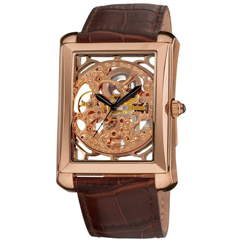 Akribos XXIV Men's Skeleton Automatic Leather Rose-Tone Strap Watch AK426RG