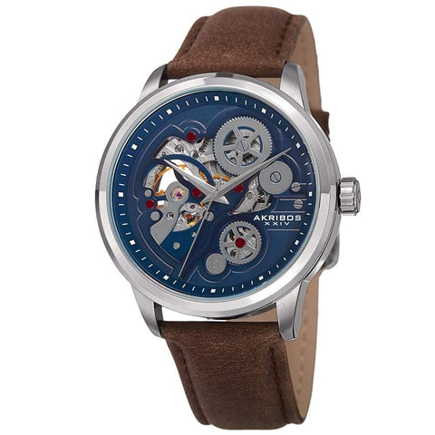 Akribos XXIV Men's Skeleton Automatic Movement Leather Silver-Tone Strap Watch AK855SSBR