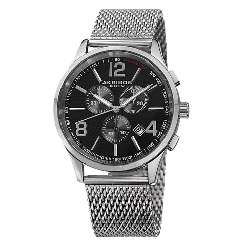 Akribos XXIV Men's Stainless Steel Mesh Bracelet Watch AK719SSB