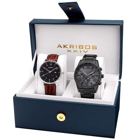 Akribos XXIV Men's Swiss Quartz Multifunction Strap/Bracelet Watch Set AK884BK