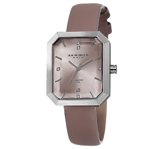 Akribos XXIV Women's Swiss Quartz Genuine Diamond Leather Strap Watch AK749PK
