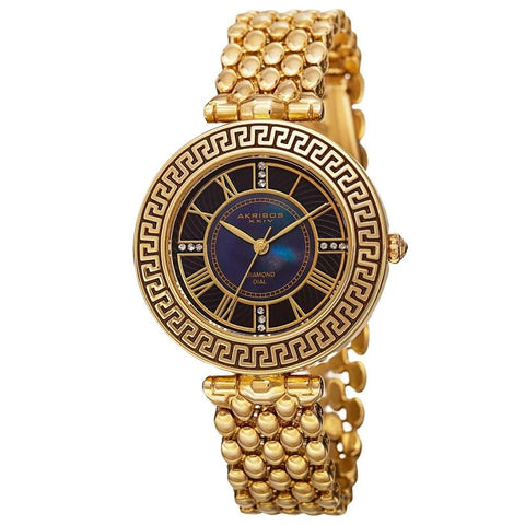 Akribos XXIV Women's Quartz Diamond Markers Unique Gold-Tone Bracelet Watch AK808YG