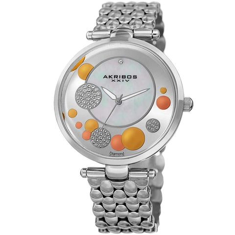 Akribos XXIV Women's Quartz Diamond Stainless Steel Black Bracelet Watch AK963SS