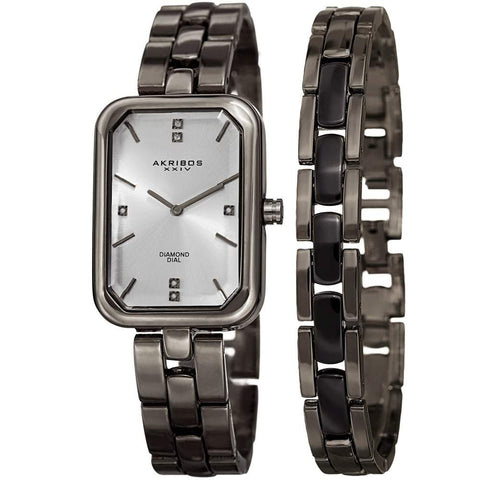 Akribos XXIV Women's Quartz Diamond Watch and Bracelet Set AK995GN