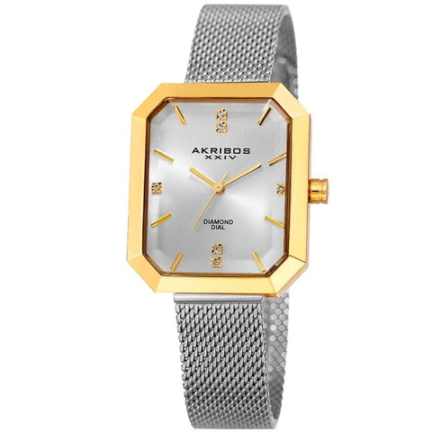 Akribos XXIV Women's Quartz Genuine Diamond Mesh Bracelet Watch AK909TTG