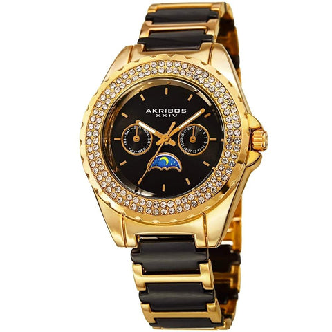 Akribos XXIV Women's Quartz Multifunction Crystal Ceranmic Bracelet Watch AK961YGB