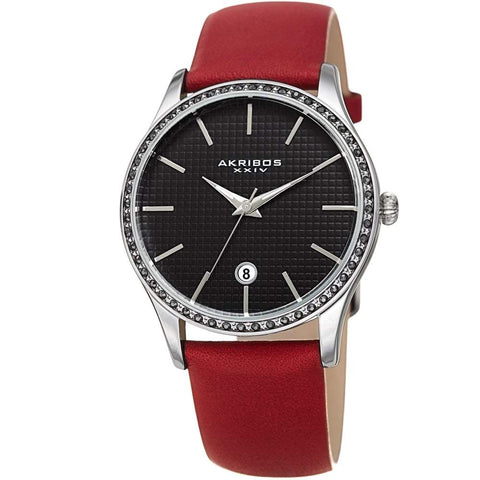 Akribos XXIV Women's Quartz Swarovski Accented Leather Strap Watch AK964RD