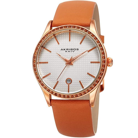 Akribos XXIV Women's Quartz Swarovski Accented Leather Strap Watch AK964TN