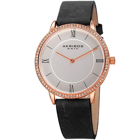 Akribos XXIV Women's Quartz Swarovski Crystal Leather Black Strap Watch AK924BK