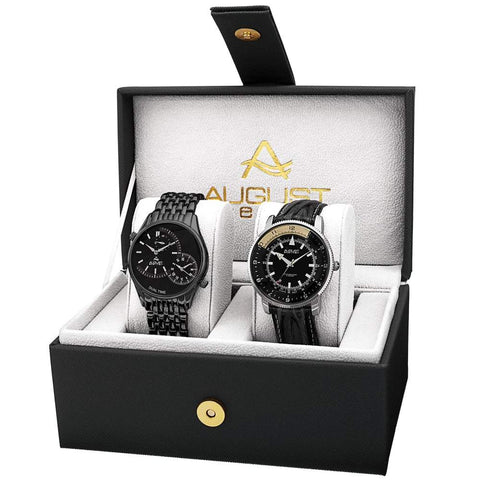 August Steiner Men's Watch Set AS8199BK