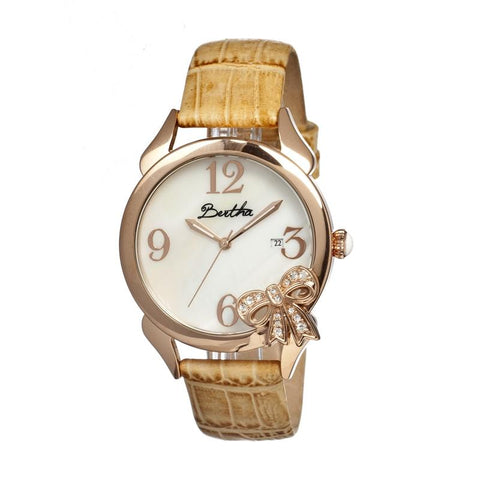 Bertha Bow MOP Leather-Band Ladies Watch - Rose Gold/Cream