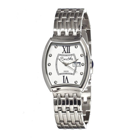 Bertha Charlotte Ladies Swiss Bracelet Watch - Silver/White