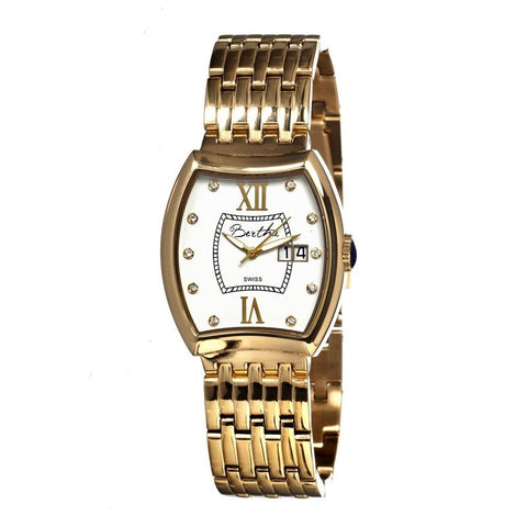 Bertha Charlotte Ladies Swiss Bracelet Watch - Gold/White