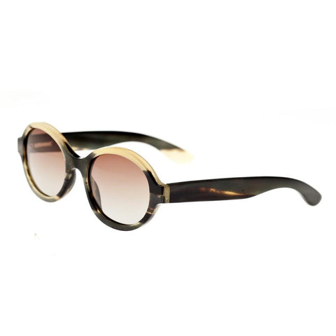 Bertha Laurel Buffalo-Horn Polarized Sunglasses - Black-Tan/Brown